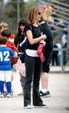 Calista Flockhart watches her sons baseball game in Los Angeles - May 2 x 5 HQ